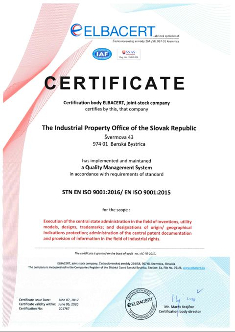 Certificate of a Quality Management System ISO 9001:2000