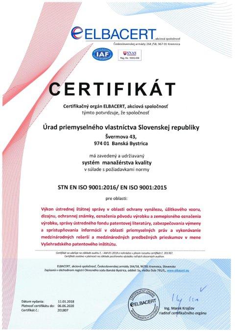 Certifikát systému manažérstva kvality ISO 9001:2000