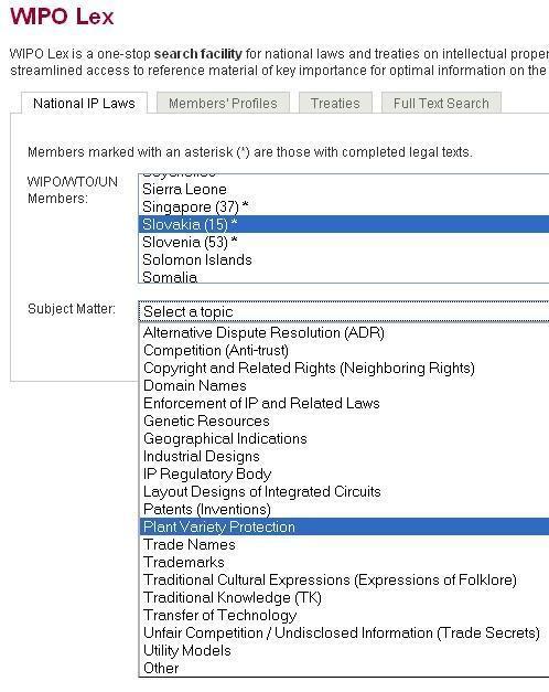 ukážka z webovej stránky WIPO Lex